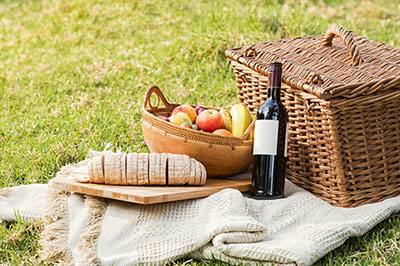 Picnic basket with bottle of wine, fruit and bread on tablecloth in grass