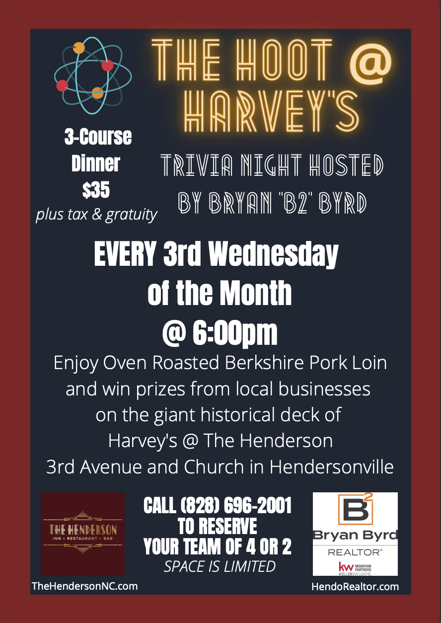 poster promoting The Hoot at Harvey's trivia night